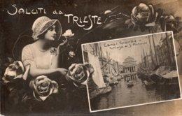 CPA  ITALIE---SALUTI DA TRIESTE---CANAL GRANDE CHIEZA SI S. ANTONIO---1919 - Trieste