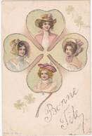 Bonne Féte : Carte à Paillettes : Trèfle Avec Portrait De Femmes à Chapeau - Viennoiserie ( C.H.R. ) - Précurseur - - Illustrators & Photographers