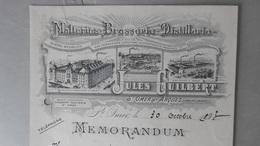 BRASSERIE Malteries Distillerie JULES GUILBERT, Saint-Omer (St-Omer Et Arques) Memorandum 30/10/1913, Signé Guilbert - 1900 – 1949