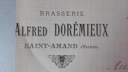 BRASSERIE ALFRED DOREMIEUX, Saint-Amand (Nord) Correspondence 22 Decembre 1897, Signé Brasseur - 1800 – 1899