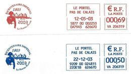 France (2003) Le Portel-Plage (62) - Bicentenaire Impérial 1803-2003, Napoléon 1er, Fort De L'Heurt. EMA HAVAS Meter. - Napoleon