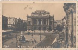 L12-34) MONTPELLIER - PLACE  DE LA COMEDIE ET LE THEATRE - (OBLITERATION DE 1939 - 2 SCANS) - Montpellier