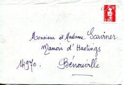 """N°78776 -cachet Manuel : Calvados Sur """"Marianne De Briat"""" 2.30 Rouge (roulette) - Marcophilie (Lettres)"""