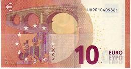 (Billets). 10 Euros 2014 Serie UB , U001B3 Signature Mario Draghi AUNC  N° UB 9010409861 - EURO