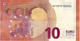 (Billets). 10 Euros 2014 Serie UF , U001G6 Signature Mario Draghi UNC  N° UF 1019106934 - EURO