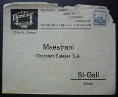 Palestine Jaffa Lettre Pour Saint Gall Suisse Chocolat Maestrani , Enveloppe Décorée, Voir Photos - Palestine