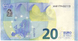 (Billets). 20 Euros 2015 Serie UD, U008C5, N° UD 8179402113,  Signature 3 Mario Draghi UNC - EURO