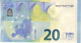 (Billets). 20 Euros 2015 Serie UC U011I3, N° UC 6176277109,  Signature 3 Mario Draghi UNC - EURO