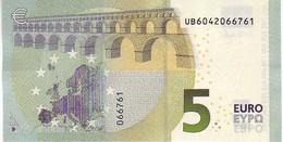 (Billets). 5 Euros 2013 Serie UB, U003G2 Signature 3 Mario Draghi N° UB 6042066761 UNC - EURO