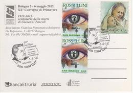 San Marino 2012 Convegno Primavera Bologna Centenario Morte Poeta Giovanni Pascoli Cartolina - Autres (Air)