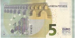 (Billets). 5 Euros 2013 Serie UF, U003I6 Signature 3 Mario Draghi N° UF 8056791835 UNC - EURO