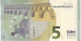 (Billets). 5 Euros 2013 Serie UD, U003E4 Signature 3 Mario Draghi N° UD 4059544311 UNC - EURO