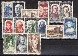 FRANCE ( ANNEE COMPLETE ) :1950  15  TIMBRES  NEUFS  SANS  TRACE  DE  CHARNIERE , A  VOIR .  TIR - 1950-1959