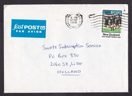 New Zealand: Airmail Cover To Netherlands, 1991, 1 Stamp, World Cup Rugby, Sports, Fastpost Air Label (traces Of Use) - Covers & Documents