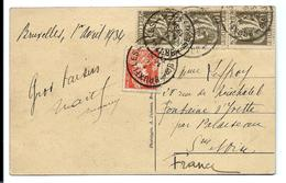 Carte Postale 1934 Affranchissement Multiple - Cartas