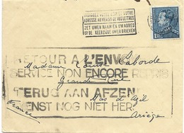 SH 0476. N° 430 BRUXELLES 1 -19.VIII.40 S/L. V.l' Ariège.Grande GRIFFE RETOUR A L' ENVOYEUR/SERVICE NON ENCORE REPRIS. - Lettres