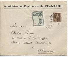 REF965/ TP 428 S/L.Administration Communale Frameries C.Frameries 1937 + Vignette Antituberculeux Enfant Royal > BXL - Belgique