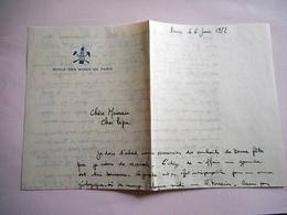LETTRE MANUSCRITE ECOLE DES MINES DE PARIS 1952 - Manuscrits