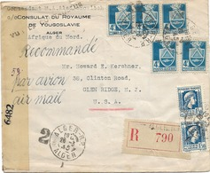 SH 0479. N° 182(5)-214(2) ALGER R.P. 28.3.45 S/L.(Consulat De YOUGOSLAVIE) RECOMMANDEE- AVION Censurée Vers U.S.A. - Algeria (1924-1962)