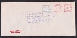 Netherlands: Cover, 1985, Blue & Red Meter Cancel, Air India, Airlines, Aviation, Slogan (traces Of Use) - Storia Postale
