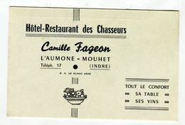 Ticket Restaurant - Hôtel Restaurant Des Chasseurs Camille Fageon L'aumone Mouhet Indre - Non Classés