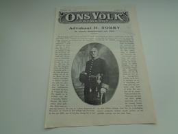 """Origineel Knipsel ( 2166 ) Uit Tijdschrift """" Ons Volk """" 1928 :  Advokaart H. Sobry Burgemeester Van Yper  Ypres  Ieper - Oude Documenten"""