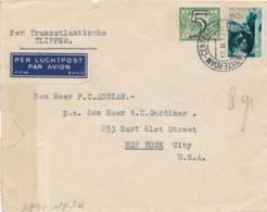Nederland - 1941 - 80 Cent Fotomontage + 5 Cent Tralie Op Censored Clipper Cover Van Amsterdam Naar New York / USA - 1891-1948 (Wilhelmine)