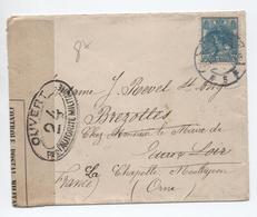 1916 - ENVELOPPE Avec CENSURE Pour BREZOLLES (EURE ET LOIR) REEXPEDIEE à LA CHAPELLE MONTLIGEON (ORNE) - Poststempel