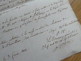 General EMPIRE (1814) Honoré GAZAN. BORDEAUX. Châteaux De VEYRES & CADILLAC [ Spana Napoleon ] AUTOGRAPHE - Handtekening