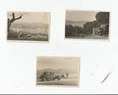 ENSEMBLE DE 3 PHOTOS AVEC AUTO ANCIENNE SUR LES ROUTES DE CORSE EN 1934 - Automobile