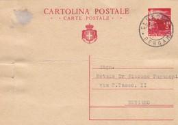 ITALIA - CLUSONE ( BERGAMO) - INTERO POSTALE - L. 3 - VIAGGIATO PER BERGAMO - Interi Postali