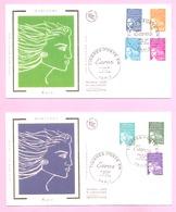 FDC - LUQUET 2002 . 2 Enveloppes 1er Jour - 7 Valeurs N° 3451 à 3457 En Euros . PARIS 1.01.2002. - FDC