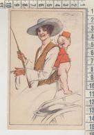 DONNE DONNA NOBILE CON CAPPELLO IN CARROZZA  ILLUSTRATA MAUZAN 1917 - Women