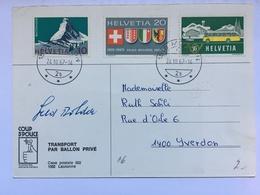 Switzerland / Schweiz - 1967 Balloon Postcard - Transport Par Ballon Prive Postkarte - Signed - Lettres & Documents