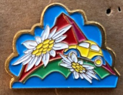 VW - COCCINELLE - JAUNE ET BLEU - EDELWEISS - SUISSE . CERVIN - FLEURS - BLÜMEN - FLOWERS - SWISS MADE -       (24) - Volkswagen