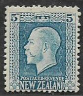 New Zealand, GVR, 1922, 5d, Light Blue, MH * - Unused Stamps