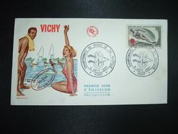 LETTRE TP CHAMPIONNATS DU MONDE DE SKI NAUTIQUE 0,30 OBL.2 SEPT. 1963 VICHY - Sci Nautico