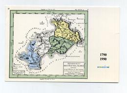 Limites Du Département Des Hautes-Alpes Divisé. CP Neuve. Voir 2 Photos. Mint Unused French Mapcard. France - Cartes Géographiques