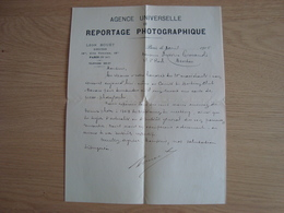 LETTRE AGENCE UNIVERSELLE DE REPORTAGE PHOTOGRAPHIQUE LEON BOUËT DIRECTEUR 1905 - France
