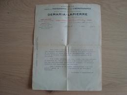 LETTRE DEMARIA-LAPIERRE APPAREILS PHOTOGRAPHIE ET CINEMATOGRAPHIE 1912 - France