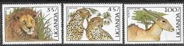 Uganda 1987   Sc#539-40, 542  3 Diff Big Cats & Eland  MH  To The 100sh   2016 Scott Value $5.50 - Game