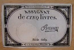 Assignat - 5 Livres FRANCE 1793 Série 6059 BRURON - Assignats