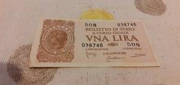 BIGLIETTO DI STATO 1 LIRA 1944 - [ 5] Schatzamt