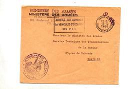 Lettre Franchise Flamme Paris XX Vehicule Occasion   Cachet S.M. Ministere Armee - Mechanical Postmarks (Advertisement)