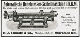Original-Werbung/ Anzeige 1928 - HOBELMESSER-SCHLEIFMASCHINE / SCHMITZ - WÜRSELEN - Ca. 80 X 35 Mm - Werbung