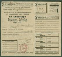 "CLUNY (Saone&Loire) Coupon D'Achat Carte Ravitaillement 1945 "" Autorisation Combustible Chauffage "" - Historische Dokumente"