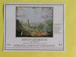 SAVIGNY-LES-BEAUNE ETIQUETTE  LES VERMOTS ILLUSTREE  LE PRINTEMPS A SAVIGNY OEUVRE DE GEORGES GONZALES (1983) - Bourgogne