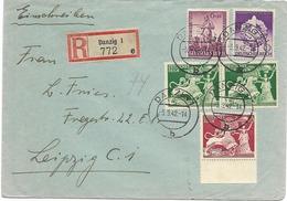 LE 0709. N° Mi 816-817(2)-818-819 DANZIG 1 - 3.9.42 S/Lettre RECOMMANDEE Vers Leipzig. TB - Lettres & Documents