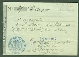 """CLUNY (Saone&Loire) Coupon D'Achat Carte Ravitaillement 1944 """" 1 Arrosoir P.le Service Des Batiments """" - Historische Dokumente"""