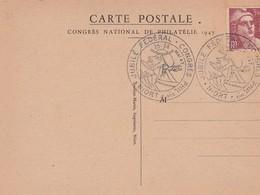 JUBILE FEDERAL CONGRES PHILATHELIQUE NIORT (Le Donjon) ) 25-16 /05/47  S/ Cpsm 10x15  +T.P. Marianne 3.50f Brun -rouge - France